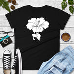 White Hibiscus Flower on Women's T-shirt - TheLastWordBish.com