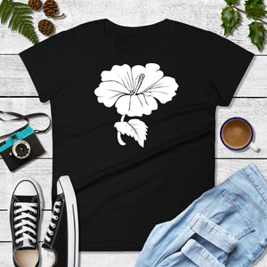 White Hibiscus Flower on Women's T-shirt - Free Shipping