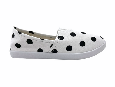 White & Black Dots Women's Shoes