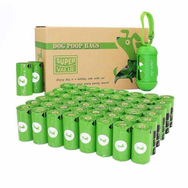 Dog Poop Bags Green Unscented (48 Rolls - 720 Count) + Free Dispenser