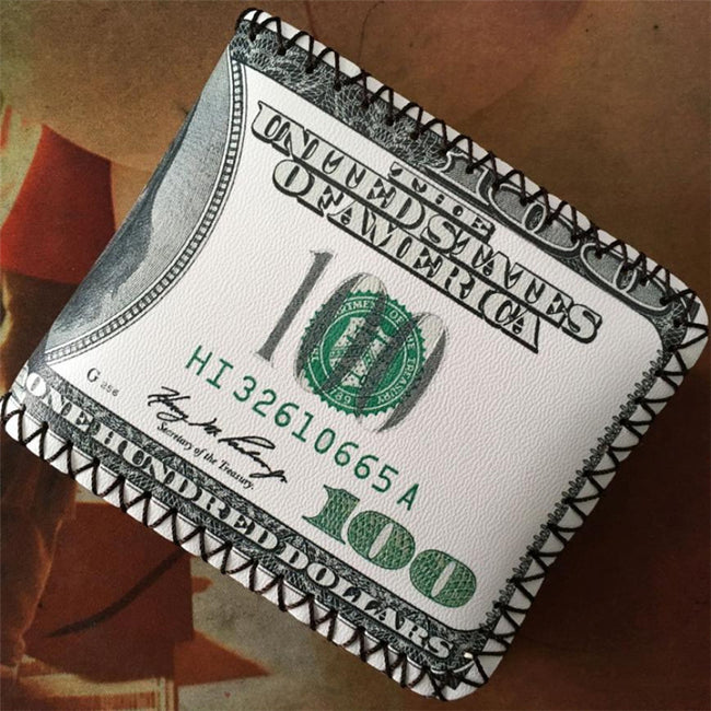 Luxury Leather Stitched 100 Dollar Bill Wallet
