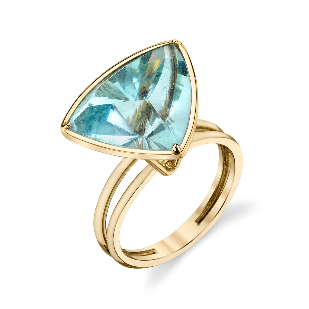 Aquamarine Freeform Trillion Ring