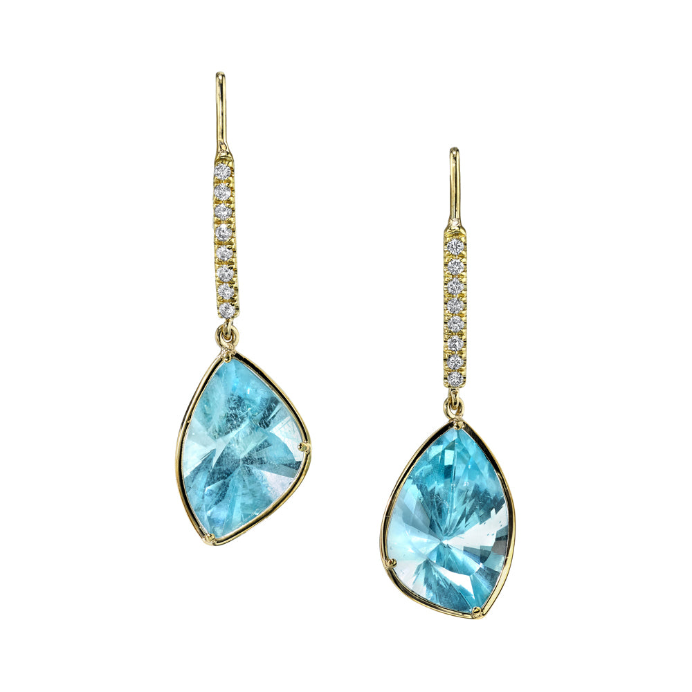 One of a Kind Aquamarine Drop Earrings