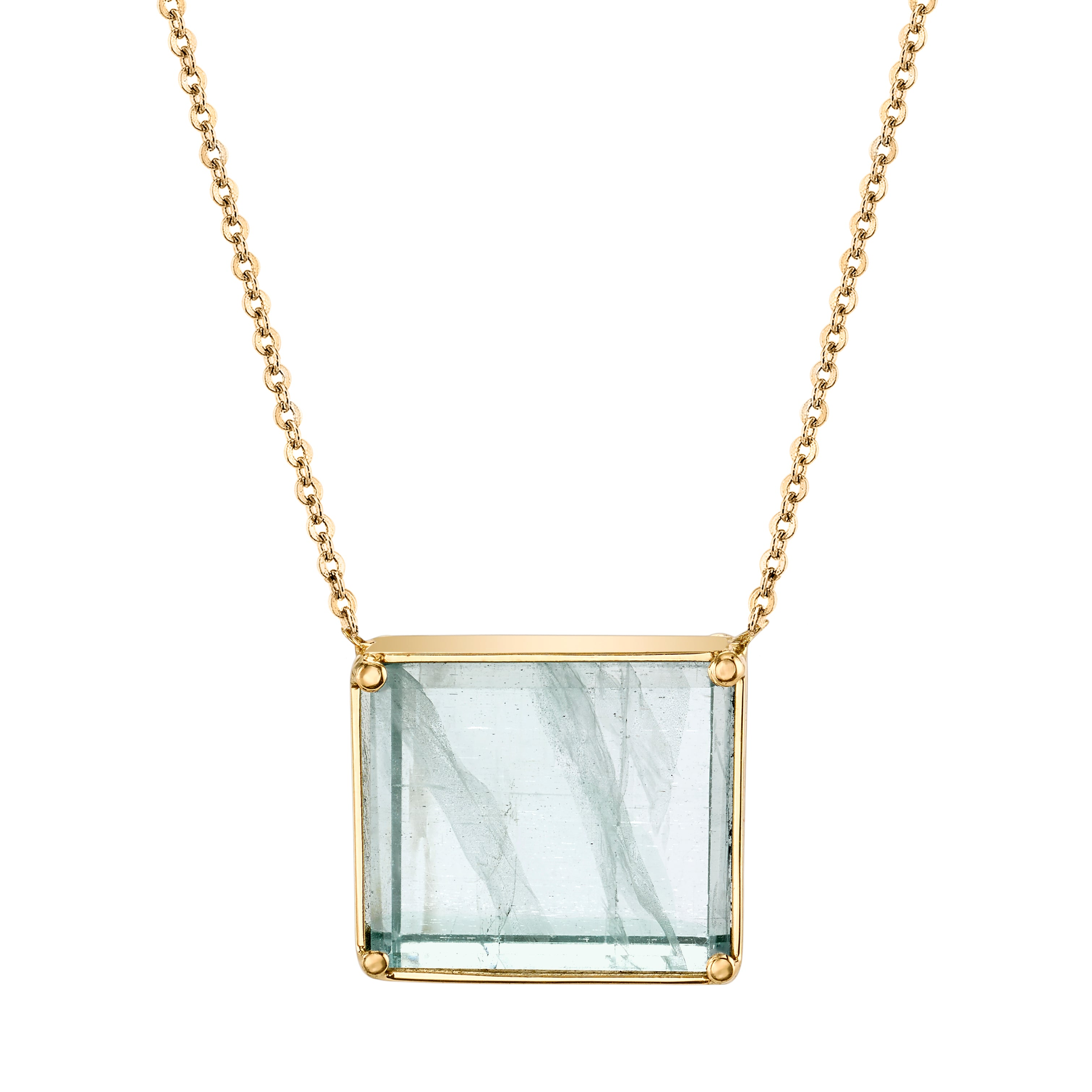 Glass Cut Aquamarine Necklace