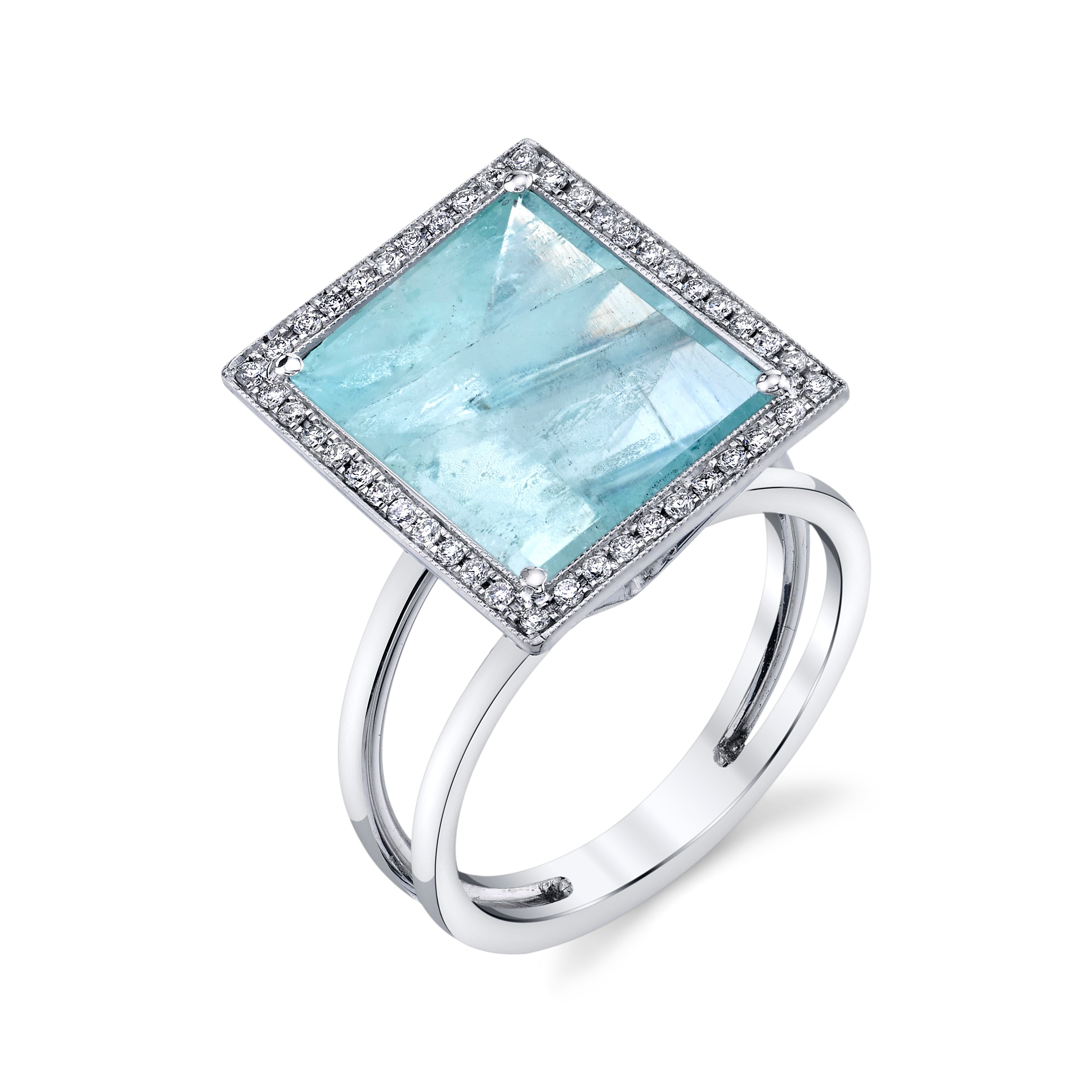 Medium Rectangular Mirror Cut Ring with Pave Halo