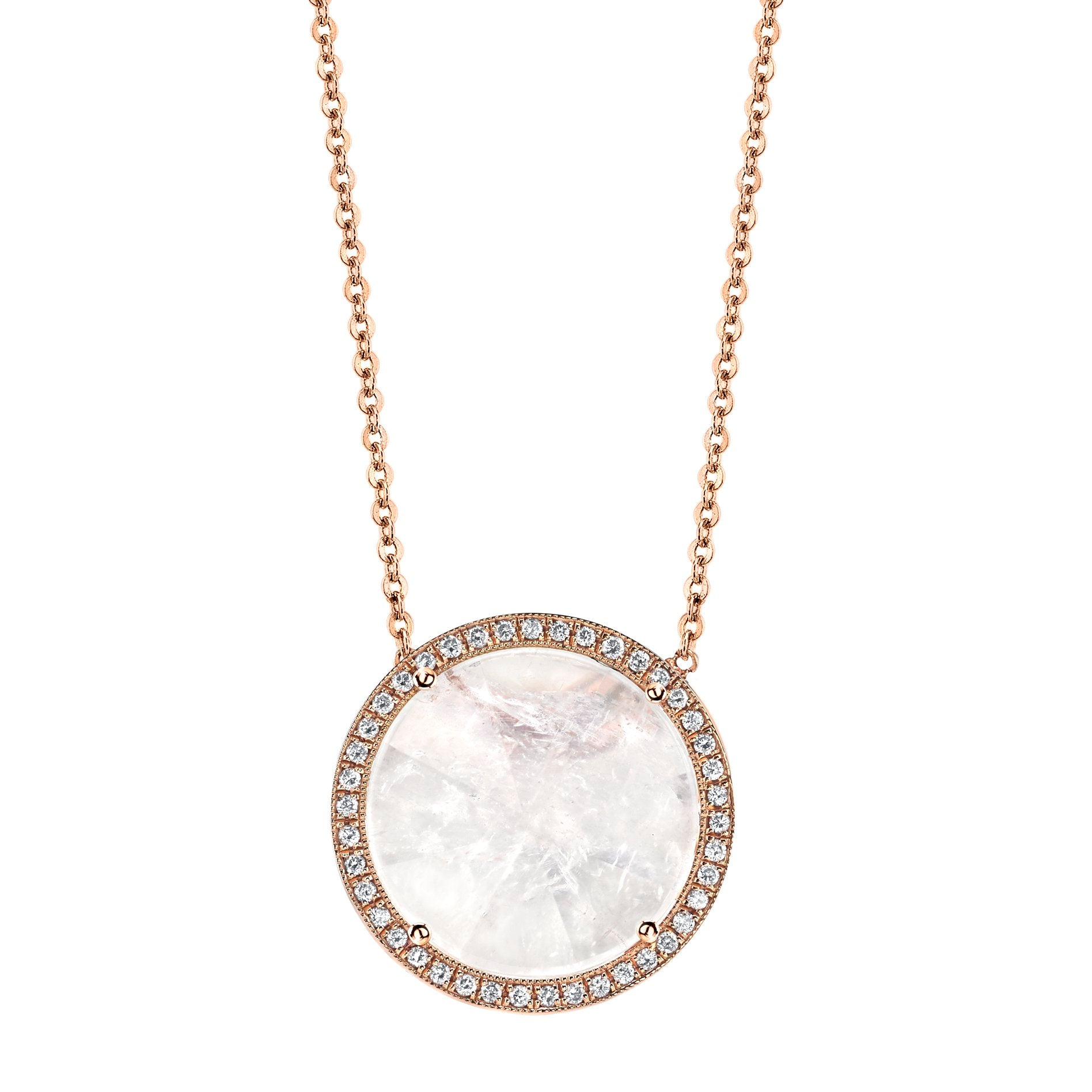 Round Mirror Cut Necklace with Diamond Pave