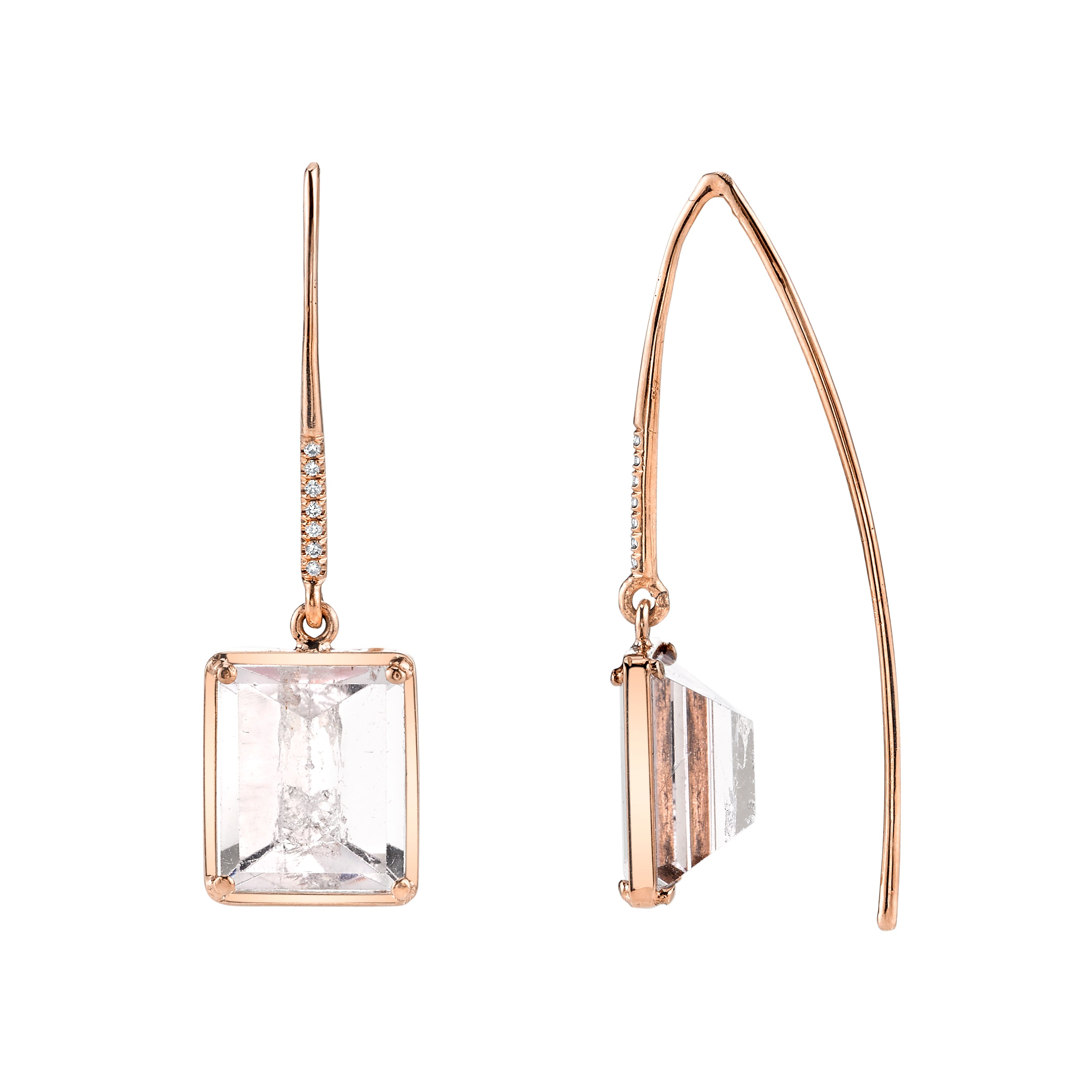 Rectangular Mirror Cut Drop Earrings