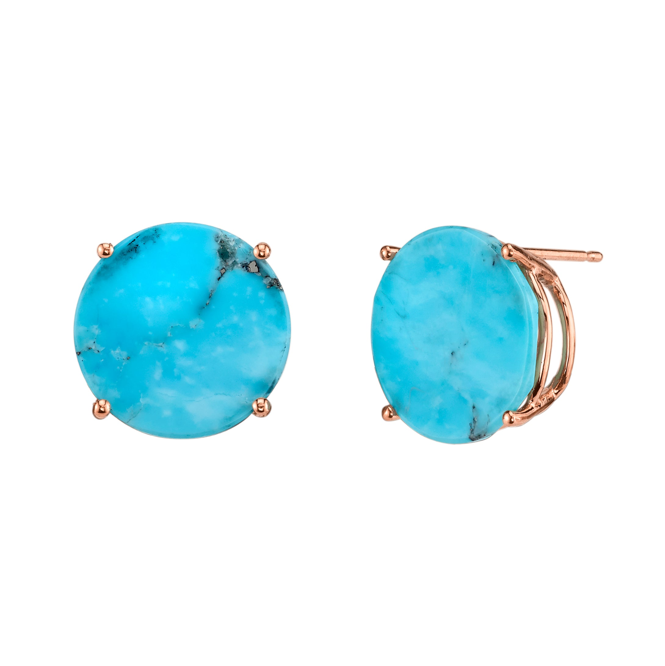 Oversized Mirror Cut Circle Stud Earrings