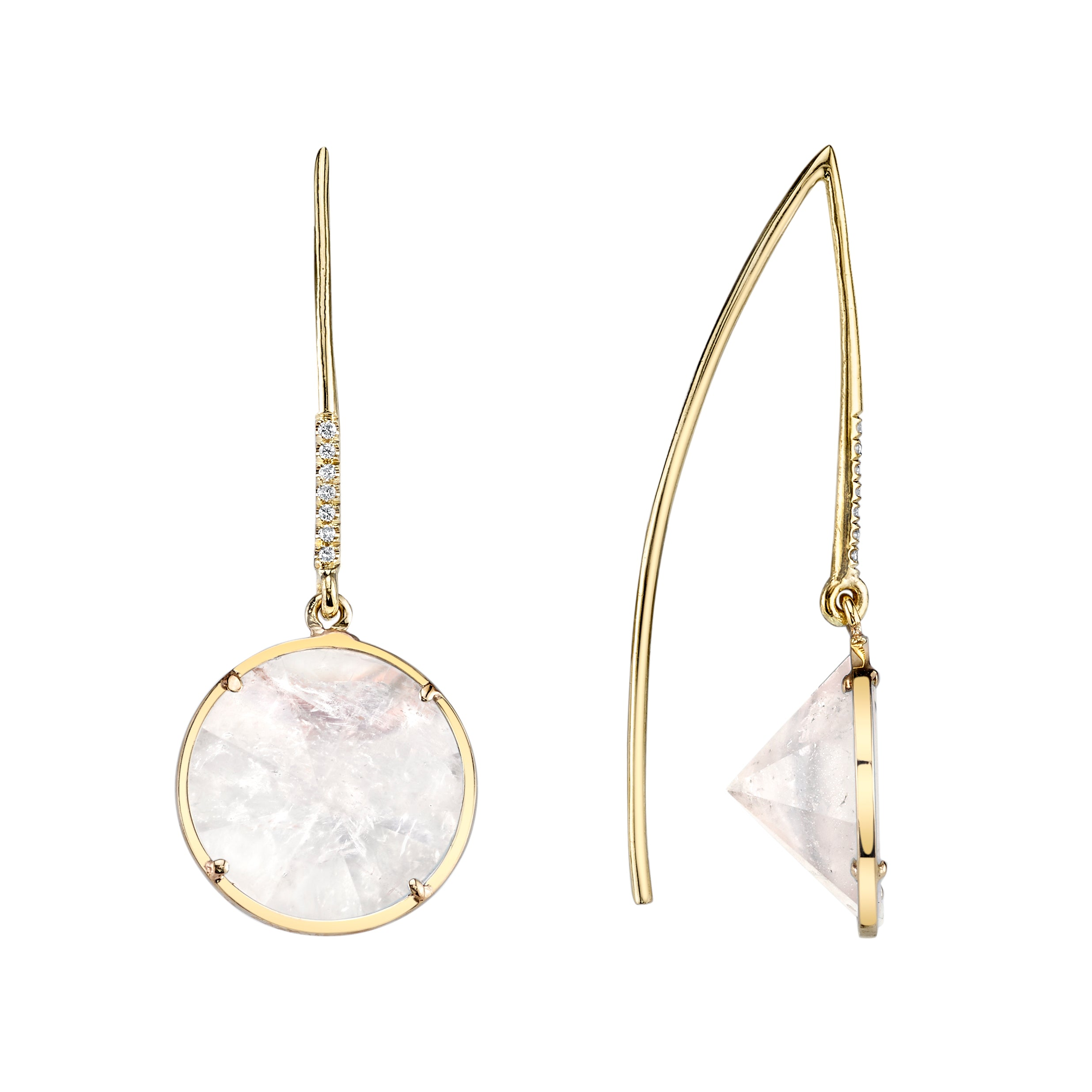 Round Mirror Cut Dangling Earrings