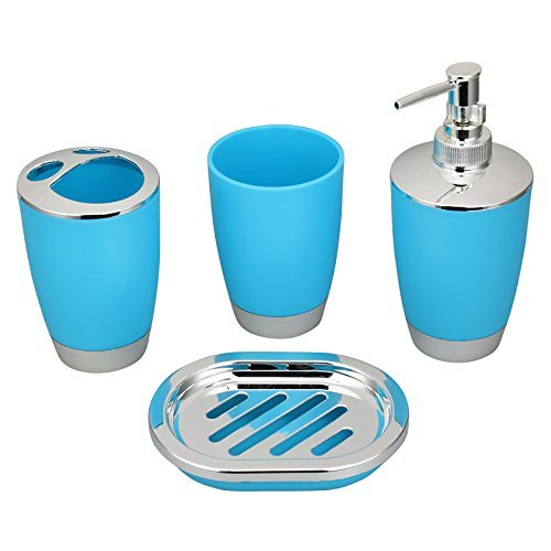 aqua coloured bathroom accessories.  New Bathroom Accessory Set Soap Dish Dispenser Toothbrush Holder Luxury 4pcs Various Colour And Pattern