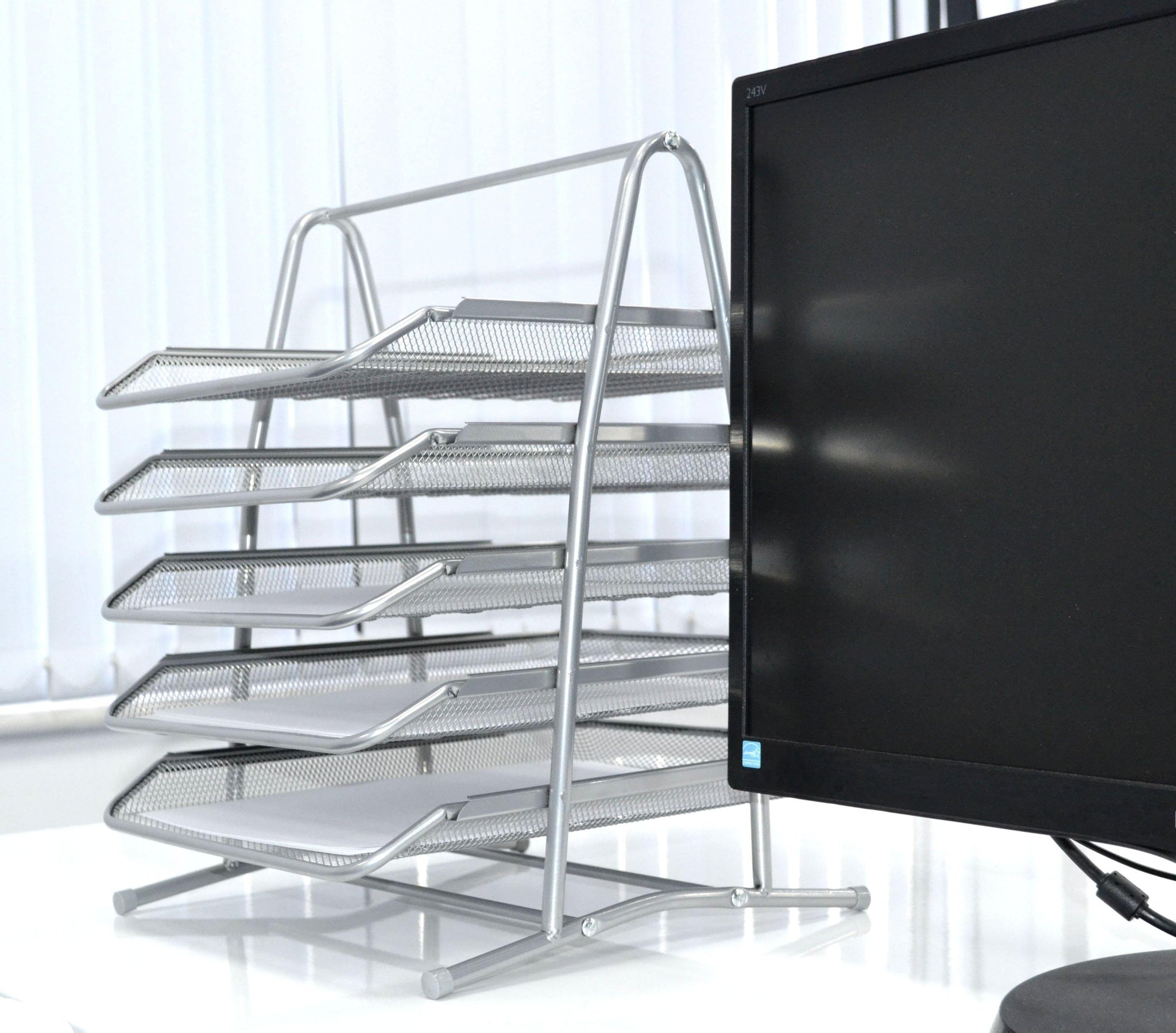 5 Tier Office Filing Trays Holder A4 Document Letter Paper Wire Mesh Storage