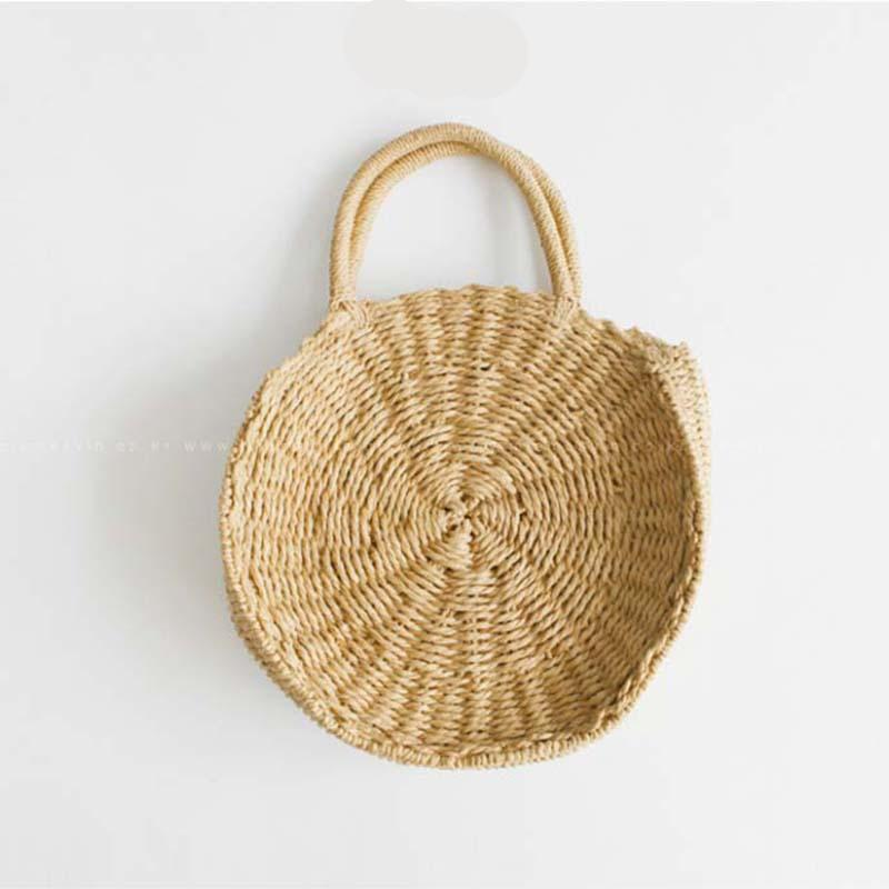 DealsChampion Khaki / 25.5 * 6.5 cm Ocean Fresh Handmade Rattan Beach Tote