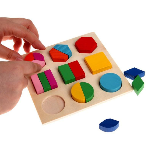 DealsChampion Kids Baby Geometry Educational Wooden Puzzle Early Learning Toy
