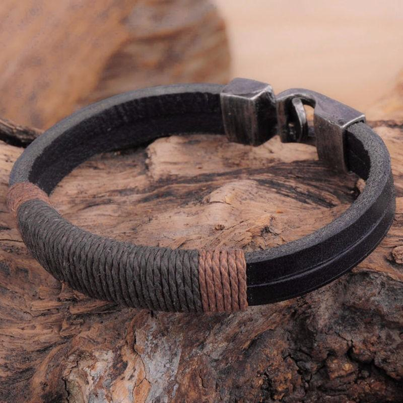 DealsChampion New Surfer Mens Vintage Hemp Wrap Leather Wristband Bracelet Cuff Black Brown