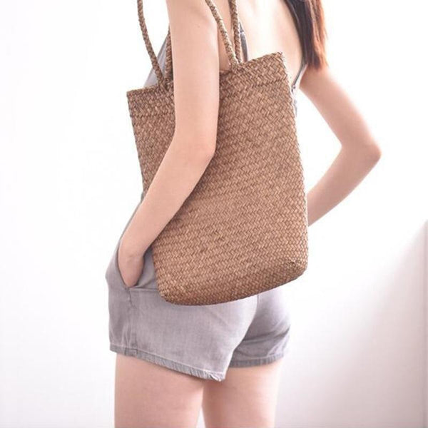 DealsChampion Sunset Handwoven Rattan Tote