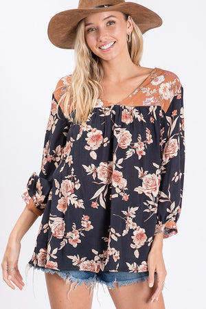 Floral Mixed Contrast Top