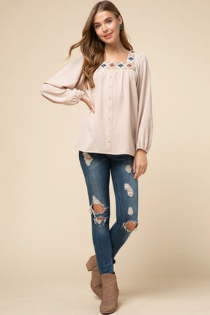 Square Neck Embroidered Top