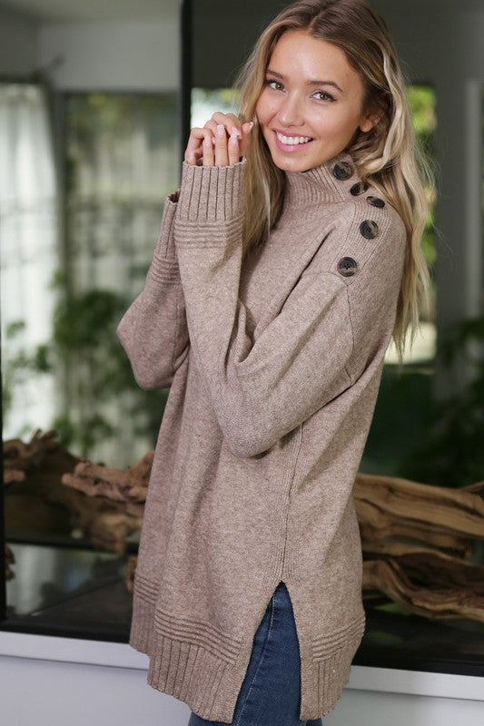 Big button on shoulder sweater