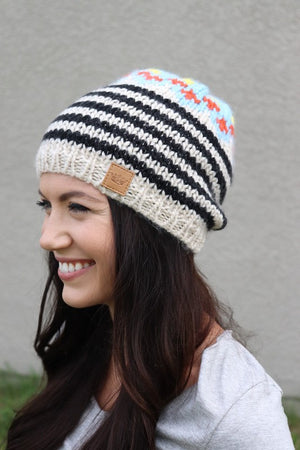 Black & Cream Knit Hat