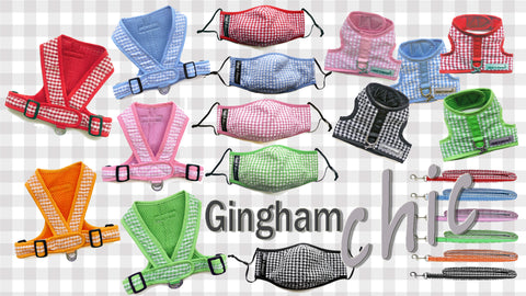 Gingham designer dog harness and leash sets