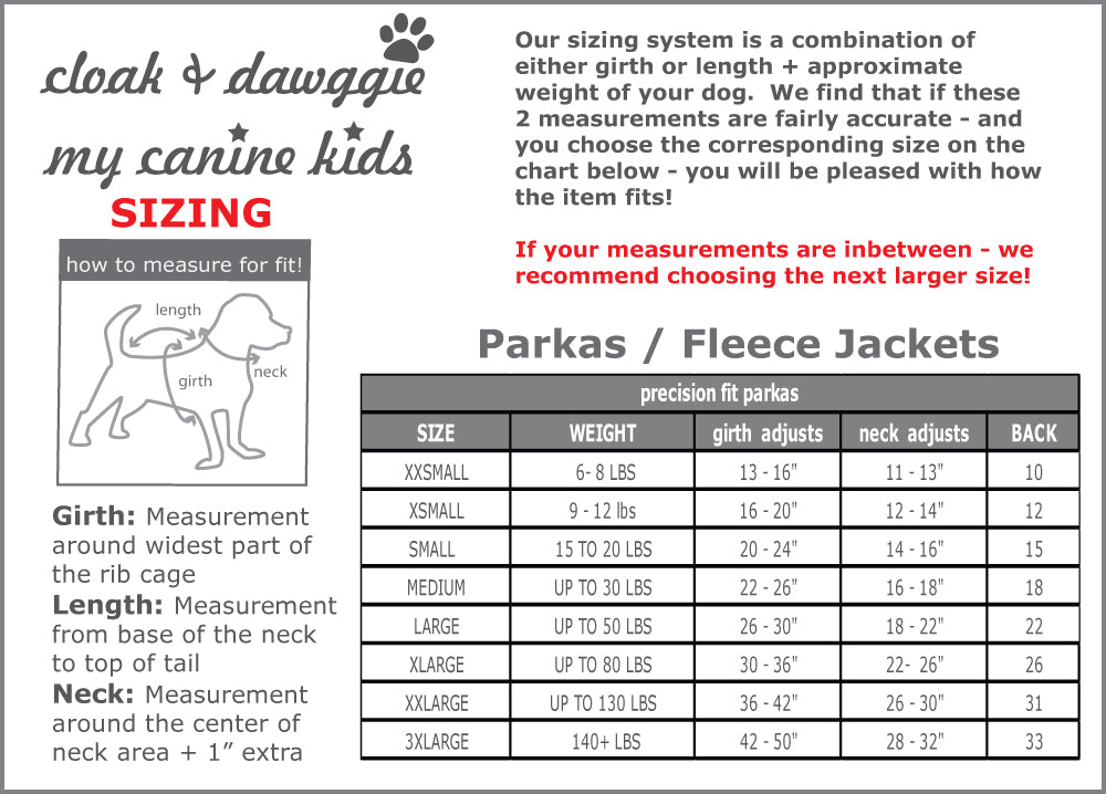 Parka size guide