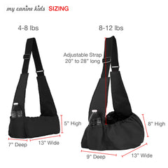 graphic showing product dimension comparison 2 slings