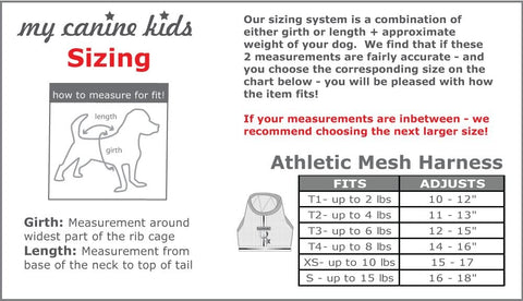 size chart athletic mesh dog harness