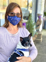 Navy blue bandana designer face mask
