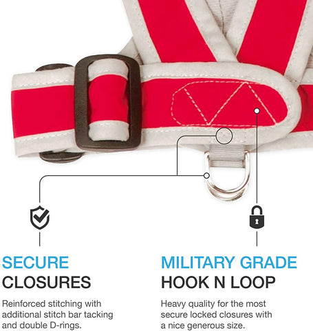 Features image secure double d ring and military grade hook and look like velcro