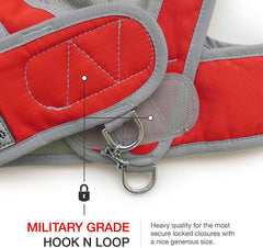 graphic showing military grade hook and loop closure for security