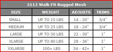 3112 Walk Fit Sport Rugged Reflective Mesh Harness Up to 120 LBS