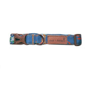 Cloak and Dawggie Denim splash print dog collar adjusts 8-26""