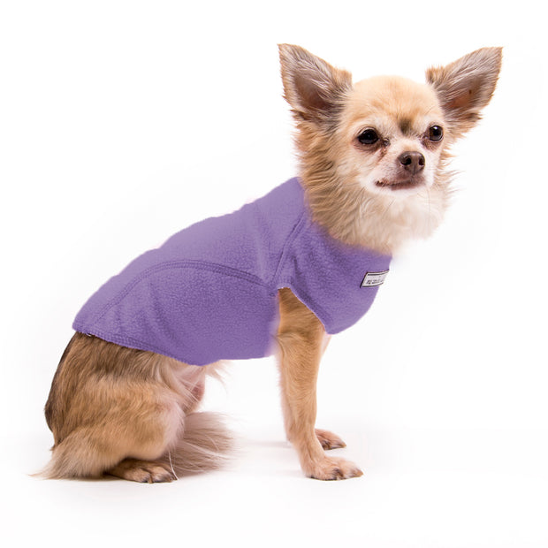 My Canine Kids | Cloak and Dawggie  Fleece Dog Sweater Tiny Dogs and Large Dogs. Shown in purple on small dog