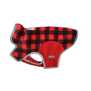 6700 Precision Fit Red Plaid Printed Fleece Designer Dog Jacket Cloak and Dawggie