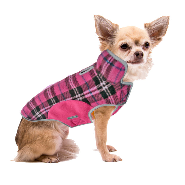 6700 Precision Fit Pink Plaid Printed Fleece Designer Dog Jacket Cloak and Dawggie