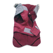 6950 Cloak & Dawggie Flannel Apre` Ski Parka Luxury Dog Coat Gray Flannel Burgundy Trim and Lining