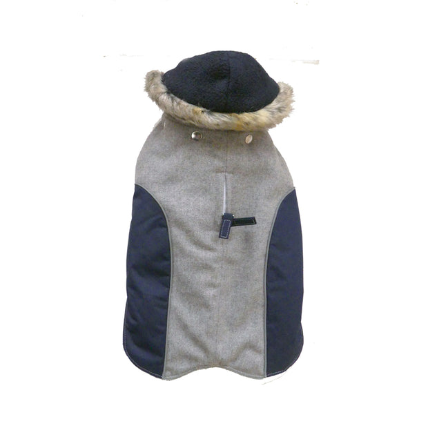 6950 Cloak & Dawggie Flannel Apre` Ski Parka Luxury Dog Coat Gray Flannel Navy Trim and Fleece Lining with Hood Top View