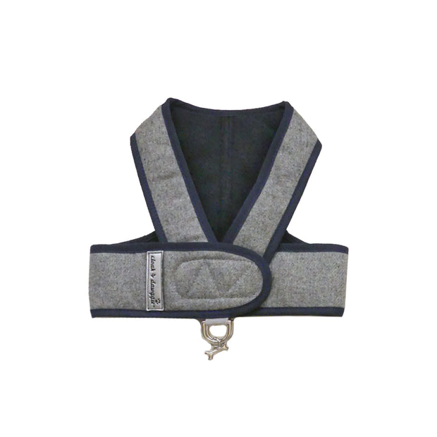 6955 Cloak & Dawggie Gray Flannel with Navy Lining Step N Go Luxury Small Dog Harness