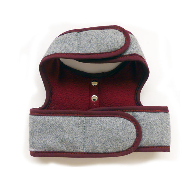 6960 Cloak & Dawggie Designer Flannel Teacup Dog Vest Harness Luxury Gray Flannel Burgundy Fleece