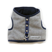 6960 Cloak & Dawggie Designer Flannel Teacup Dog Vest Harness Luxury Gray Flannel Navy Fleece
