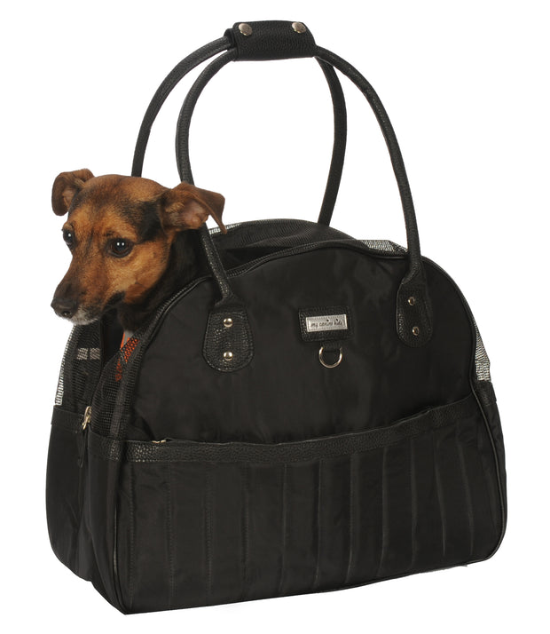 Quilt Dog Carrier Purse. Black. Lightweight. Teacup and Small Dogs up to 12 LBS