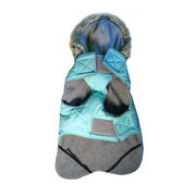 9550 Apre` Ski Winter Dog Coat. Waterproof. Feather Light Hood.