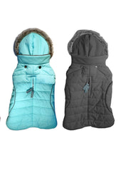 9550 Apre` Ski Winter Dog Coat. Waterproof. Feather Light with Hood. Teacup, Small to Large Dog up to 80 LBS  cloakanddawggie-mycaninekids