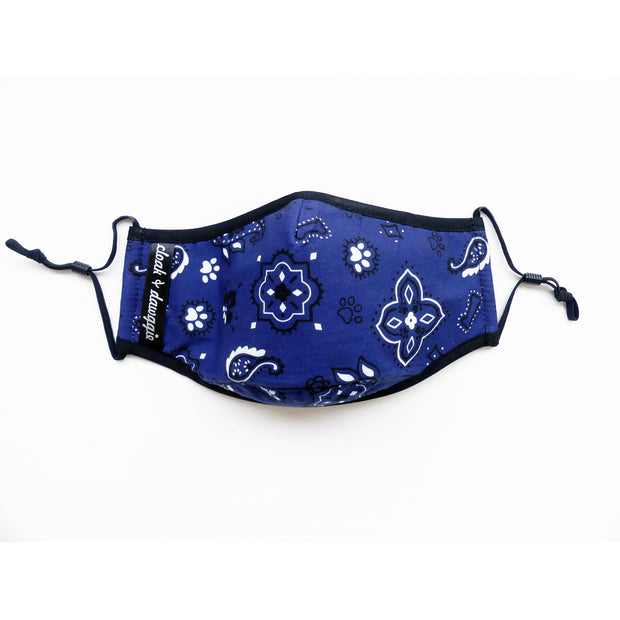 Navy bandana face mask for dog lovers cloak & dawggie