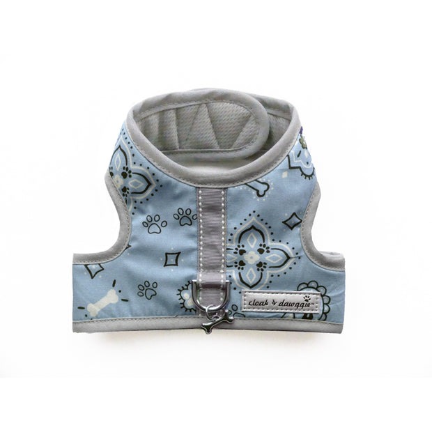 Blue bandana print dog harness vest xxs teacup cloak & dawggie