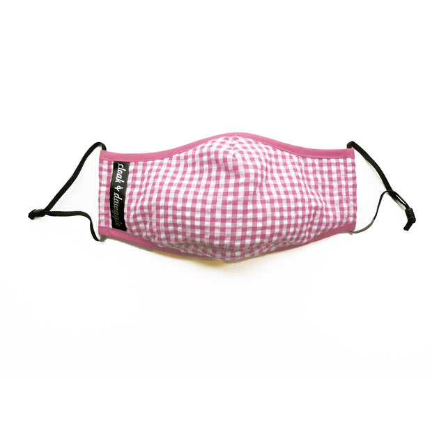 Cloak & Dawggie Face Mask Pink Gingham Plaid Print