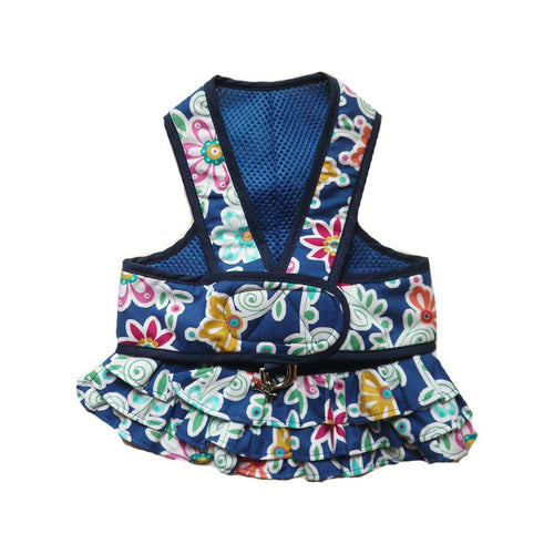7150 Step n Go Harness Dress for Dogs Blue Floral Print  cloak & dawggie