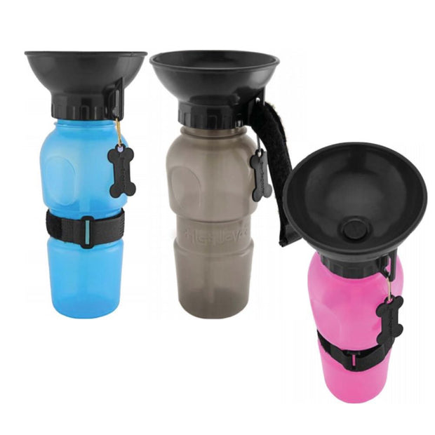 Dog Bowl Water Bottles Pink Blue Tan Cloak and Dawggie