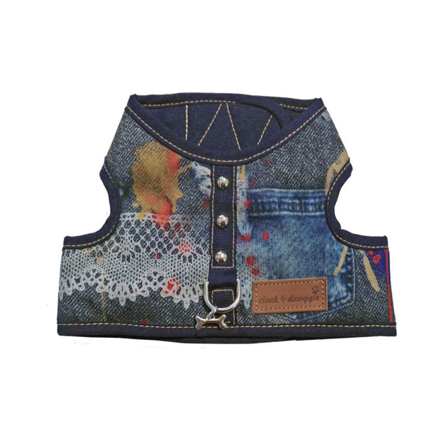 Cloak and Dawggie 4600 Denim Lace Print Designer small dog harness vest teacup