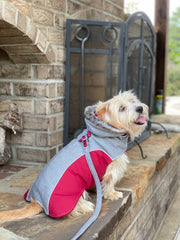 6950 Cloak & Dawggie Flannel Apre` Ski Parka on model. Luxury gray flannel with burgundy trim and fleece lining.